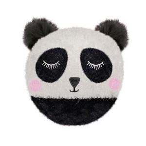 Coussin chauffant Tête de panda et billes de tourmaline, 20 cm