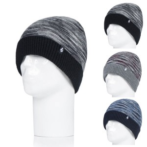 Bonnet Homme ultra chaud rayé avec revers Heat Holders