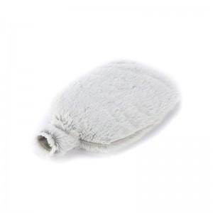 Bouillotte micro-ondes fourrure grise soyeuse, bouteille, grains de blé