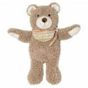 Peluche bouillotte ours brun avec bandeau - 29 cm
