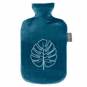Bouillotte à eau velours Bleue motif Feuille 2l - 32 cm