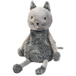 Peluche bouillotte Chat gris pour micro-onde