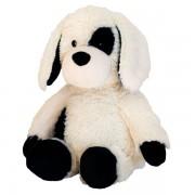 Peluche bouillotte chien oeil noir assis pour micro-onde
