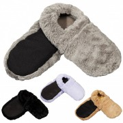 Chaussons chauffants micro-ondes en fausse fourrure