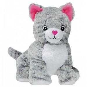Bouillotte peluche chat gris et blanc à chauffer au micro-onde, déhoussable