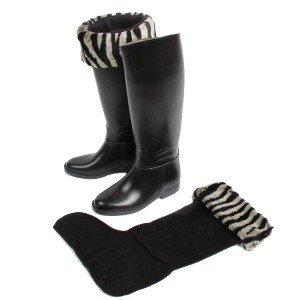 Chaussettes de bottes polaire et fausse fourrure Zèbre