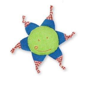 Bouillotte soleil vert et bleu pour bébé aux noyaux de cerise - 25 cm