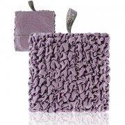 Bouillotte micro-ondes tissu plissé parme, 20cm