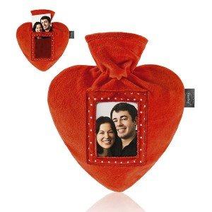 Bouillotte à eau coeur velours rouge avec photo personnalisable, 0,7l - 26 cm