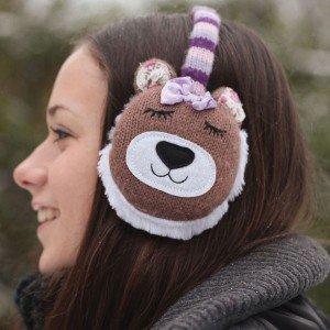 Chauffe-oreilles ours marron avec chaufferettes en gel
