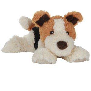 Peluche Bouillotte Chien Terrier allongé à chauffer aux micro-ondes