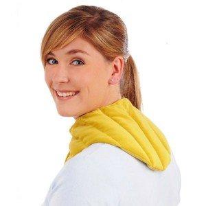 Bouillotte tour de cou en grains de moutarde avec velcro 58x16cm