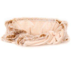 Ceinture chauffante déhoussable en fausse fourrure blanc et roux