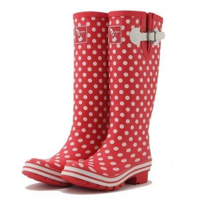 e661c270190 Bottes de pluie Rouge à Petits Pois blanc - Jolies Bottes de Pluie