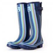 Bottes de pluie lignes colorées bleues