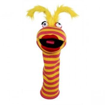 Marionnette chaussettes Rouge à lèvre jaune et rouge 40cm.