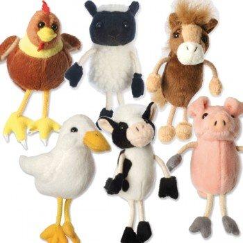 6 Marionnettes à doigts les animaux de la Ferme 15cm