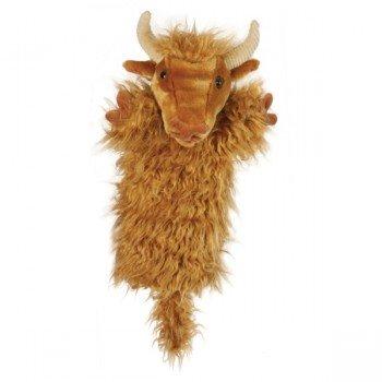 Marionnette Vache Highland marron à longue manche