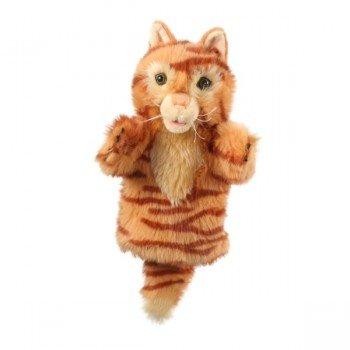 Marionnette enfant à main Chat rayé roux 25cm