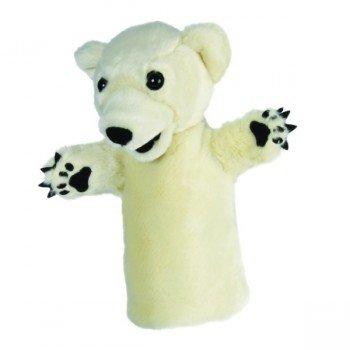 Marionnette enfant à main Ours polaire blanc 25cm