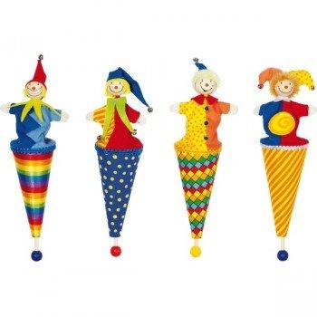 Marottes marionnettes clown au bout d'un bâton, 24cm, lot de 4