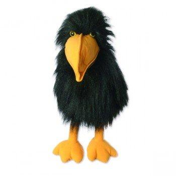 Grande Marionnette Corbeau avec couineur et bouche articulée, 46 cm