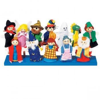 12 Marionnettes à doigts personnages féérique, tête en bois, 11cm