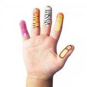 Marionnette à doigts Tatouage animaux sauvages, pack de 20
