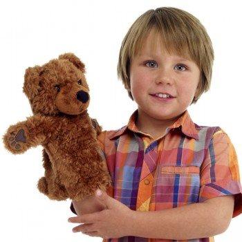 Marionnette enfant Ours Brun à main 25cm