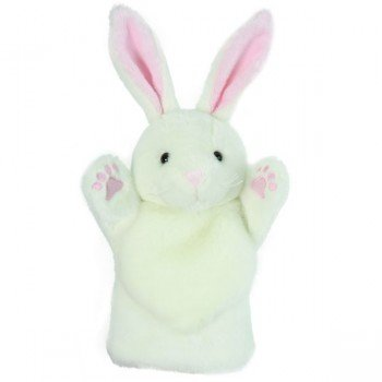 Marionnette enfant à main lapin blanc 25cm