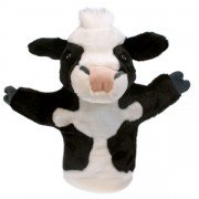Marionnette vache noire et blanche enfant, 25cm