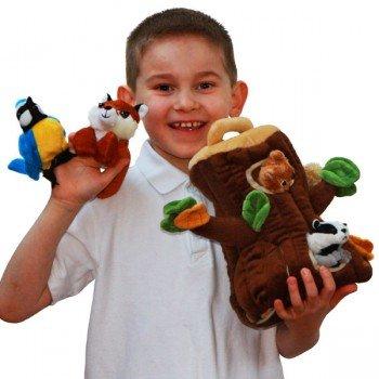 Tronc d'arbre et ses 6 marionnettes à doigts, 29cm