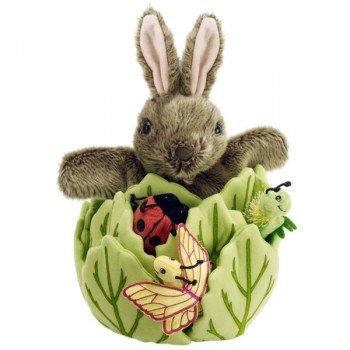Marionnette lapin dans la laitue et 3 marionnettes à doigts, 33cm