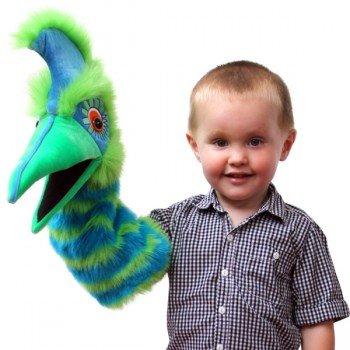 Marionnette Oiseau vert bleu, longue manche, ventriloque