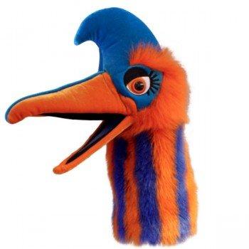 Grande Marionnette Tête d'oiseau orange et bleu avec bruiteur