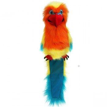 Grande Marionnette Oiseau Inséparable avec couineur et bouche articulée, 45cm
