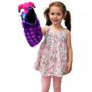 Marionnette Oiseau Dazzle rose et violet avec siffleur dans la bouche