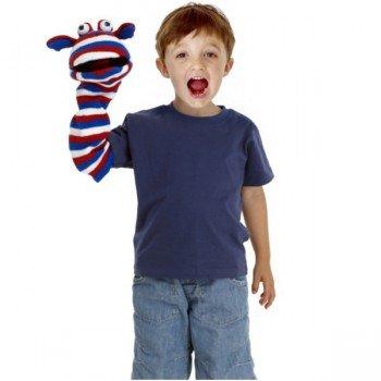 Marionnette chaussettes à bras Jack bleu,blanc,rouge 40cm.