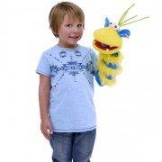 Grande marionnette chaussettes Ringo jaune et bleu 40cm.