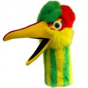 Marionnette Oiseau Pélican Obble jaune et vert avec bruiteur