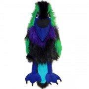 Grande Marionnette Oiseau Corbeau coloré avec couineur et bouche articulée, 45cm