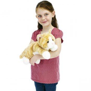 Marionnette enfant à main Chat tigré roux et blanc 30cm