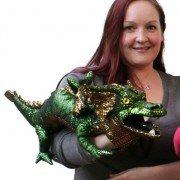 Grande Marionnette Dragon Vert aux écailles brillantes, 70cm