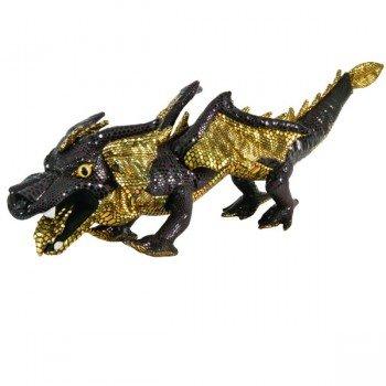 Grande Marionnette Dragon Noir écailles brillantes, 70cm