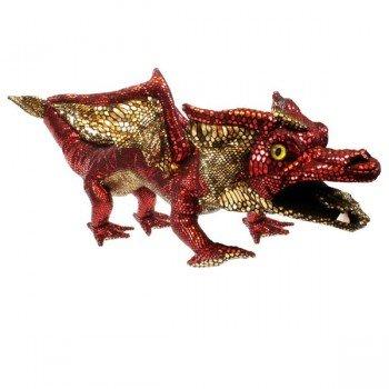 Grande Marionnette Dragon Rouge écailles brillantes, 70cm