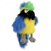 Marionnette oiseau Perroquet bleu avec bruiteur et bouche articulée, 30 cm
