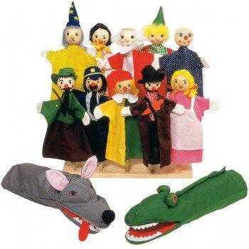 12 Marionnettes à main en tissu et tête en bois, 27cm