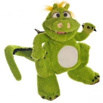 Marionnette Dragon Vert peluche complète, 35 cm