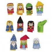 11 Marionnettes à doigts tissus Personnages, 7cm
