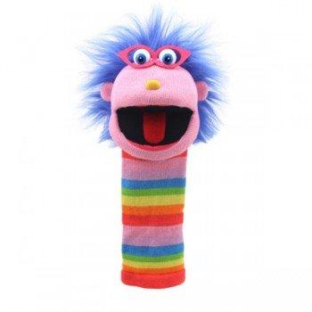 Marionnette chaussettes Gloria multicolore et funky 40cm.